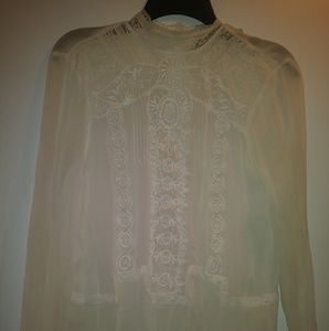 Zara Woman Lace Sheer Top